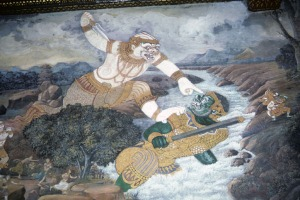 Hanuman doing battle in a Thai Ramayana mural
